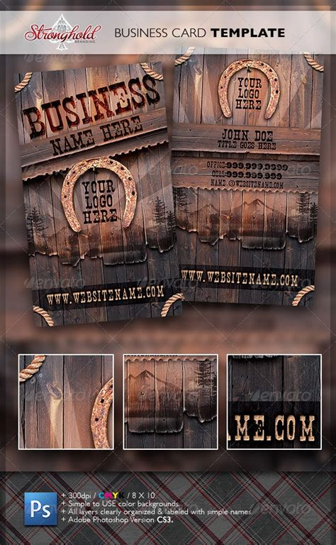 Vintage Western Wood Card Template by getstronghold