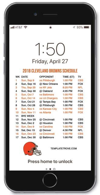 2018-2019 Cleveland Browns Lock Screen Schedule for iPhone