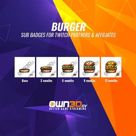 """Twitch Sub Badge """"Burger"""" - OWN3D"""