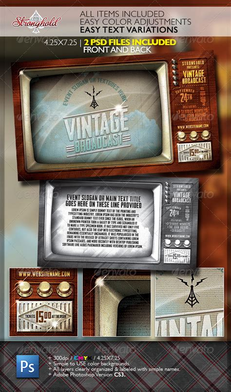 Vintage Television Broadcast Flyer Template by