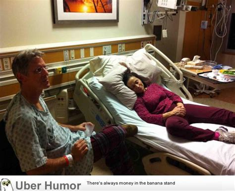 Mom visits Dad in the hospital