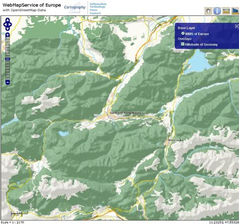 OSM-WMS-EUROPE mit Schummerung / users: Germany