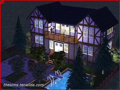 Symmetrical rustic-style house on 2x2 lot   The Sims fan page