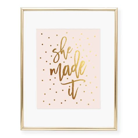 She Made It Pink + Gold Art Print   Real gold foil