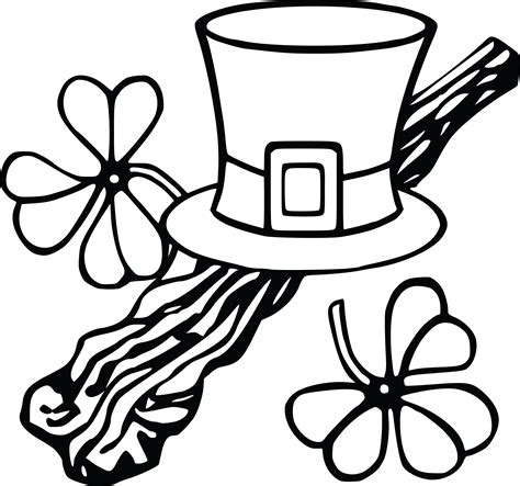 Free Clipart Of A Leprechan Hat and Shamrocks, Black and